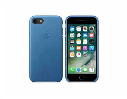 iPhone 7 with Blue Leather Case